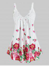 Plus Size Flower Applique Panel Backless Tunic Tank Top -