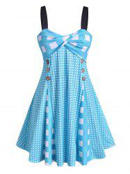 Plus Size Checked Front Twist Dress -