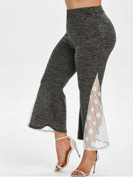 Plus Size Lace Insert Marled Bell Bottom Pants -