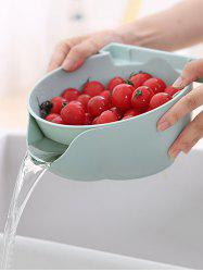 Double-layered Fruit Vegetable Drain Basket with Phone Holder -