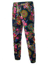 Tribal Plant Feather Print Jogger Pants -