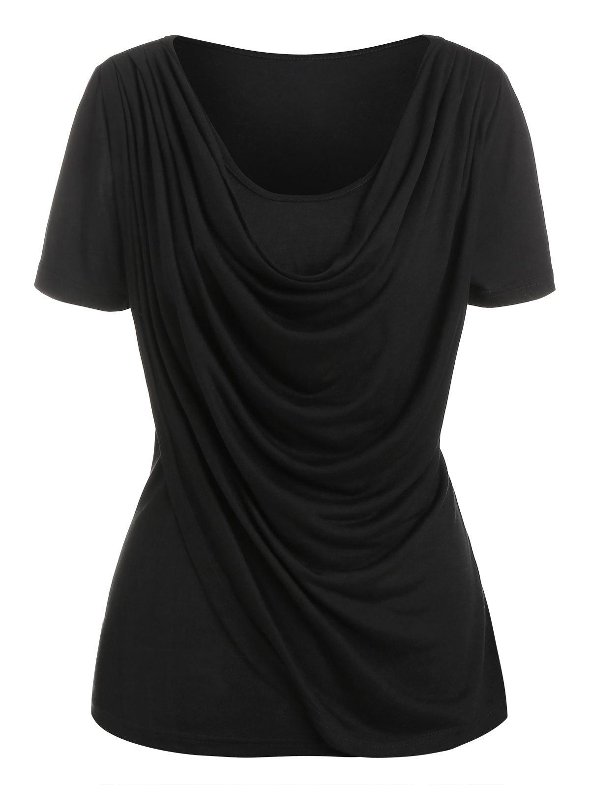 Affordable Cowl Neck Overlap Heathered T Shirt
