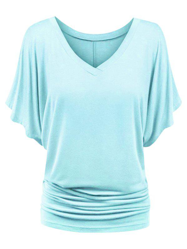 Plus Size Ruched Batwing Sleeve Top фото