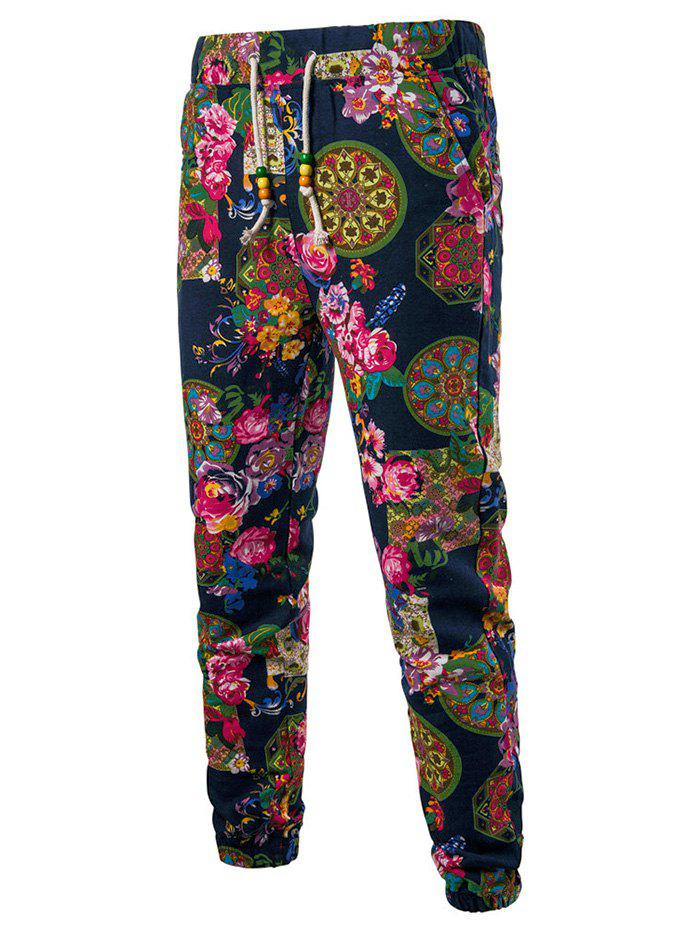 Hot Tribal Plant Feather Print Jogger Pants