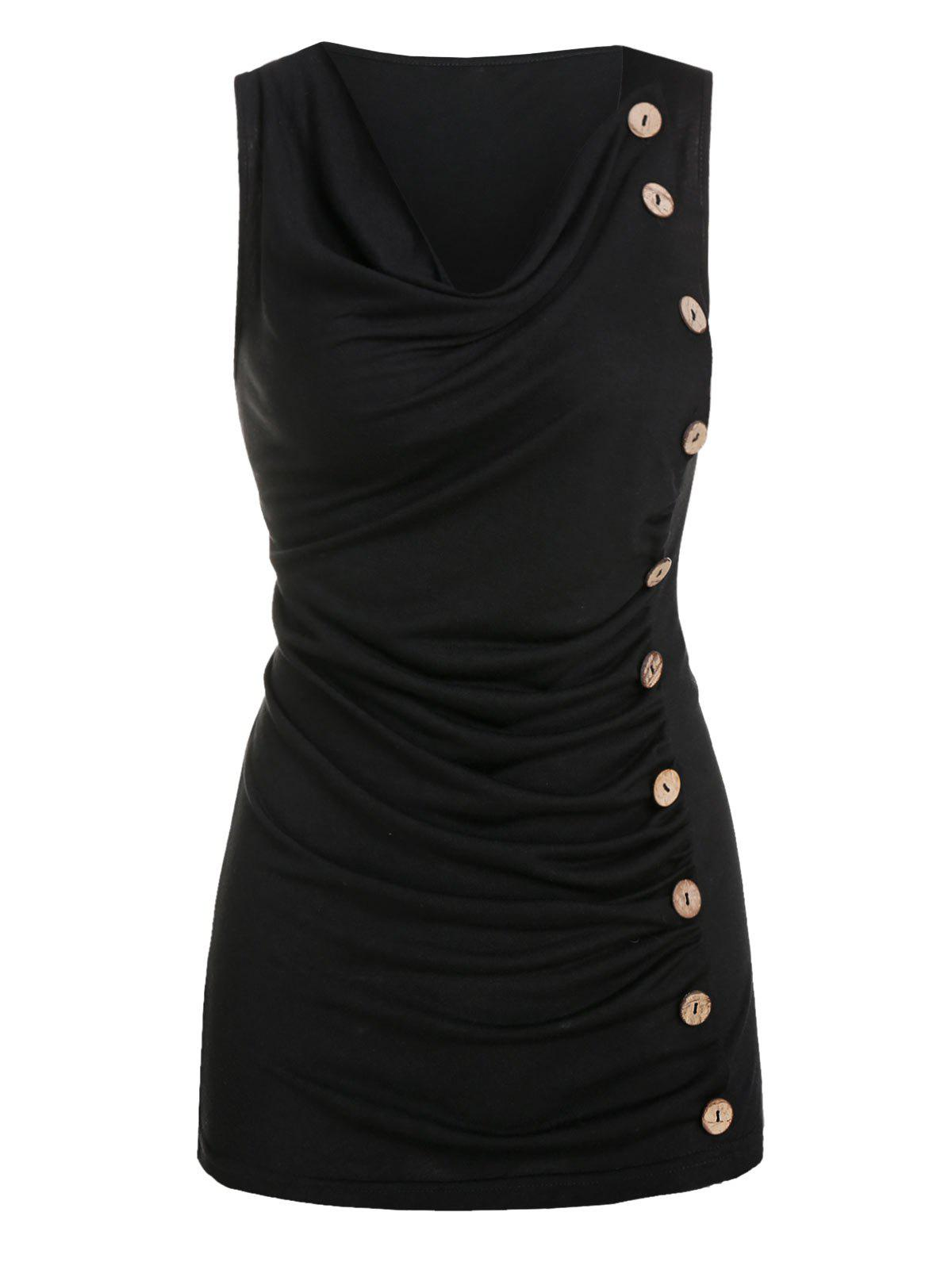 Fancy Ruched Mock Button Tank Top