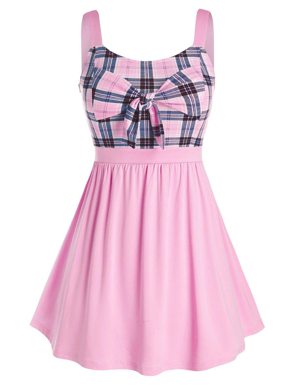 Outfits Plus Size Plaid Bowknot Splicing Tank Top