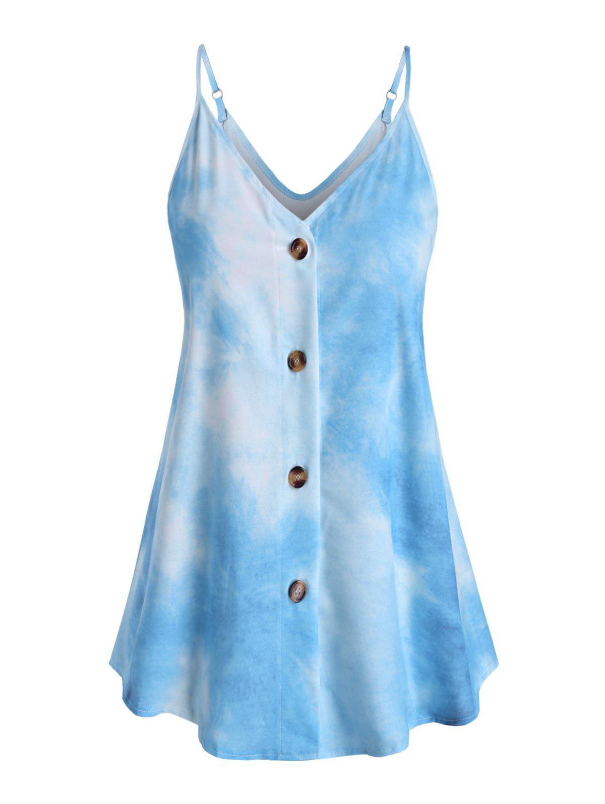 Outfit Tie Dye Button Up Plus Size Cami Top