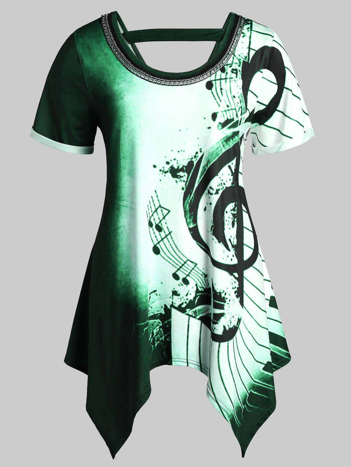 Outfits Plus Size Musical Notes Print Handkerchief Chains Embellished Tee