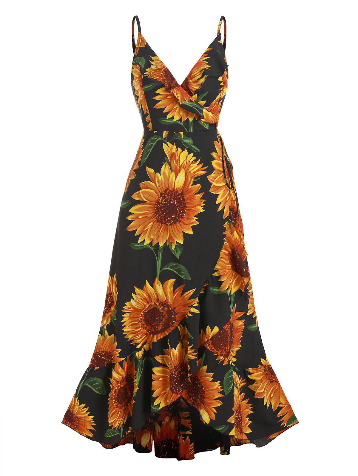 Cheap Sunflower Print Flounce Wrap Maxi Dress