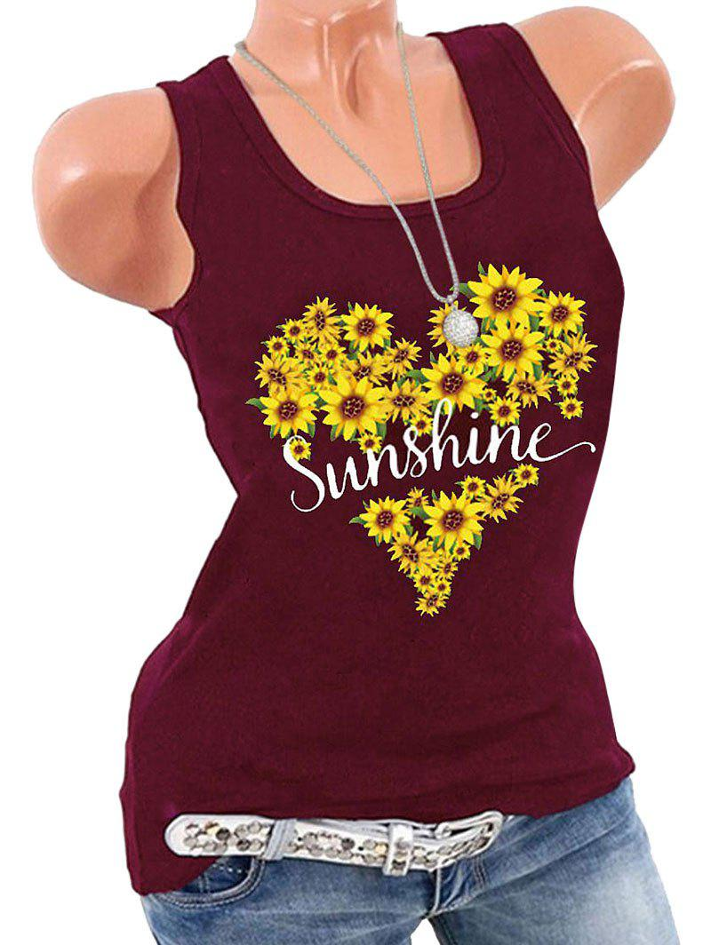 Chic Plus Size Sunshine Sunflower Print Graphic Tank Top