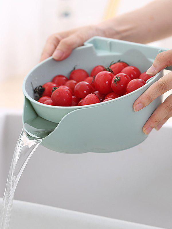 Buy Double-layered Fruit Vegetable Drain Basket with Phone Holder