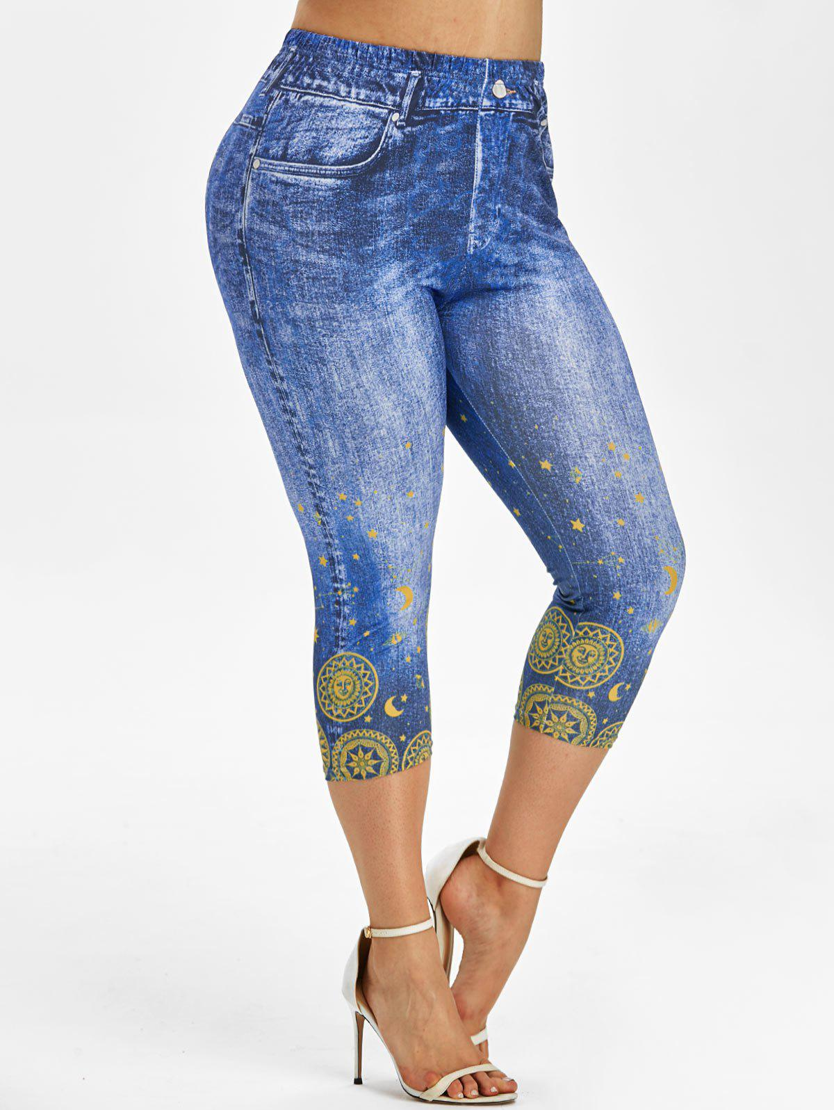 Outfits Plus Size 3D Pattern Moon and Sun Capri Jeggings