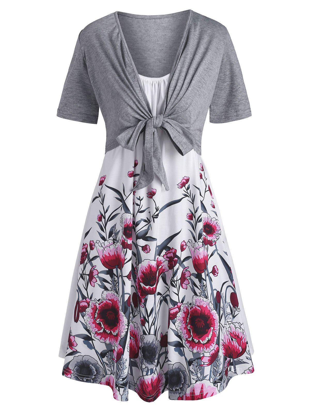 Fashion Floral Cami Dress and Tie Front Top