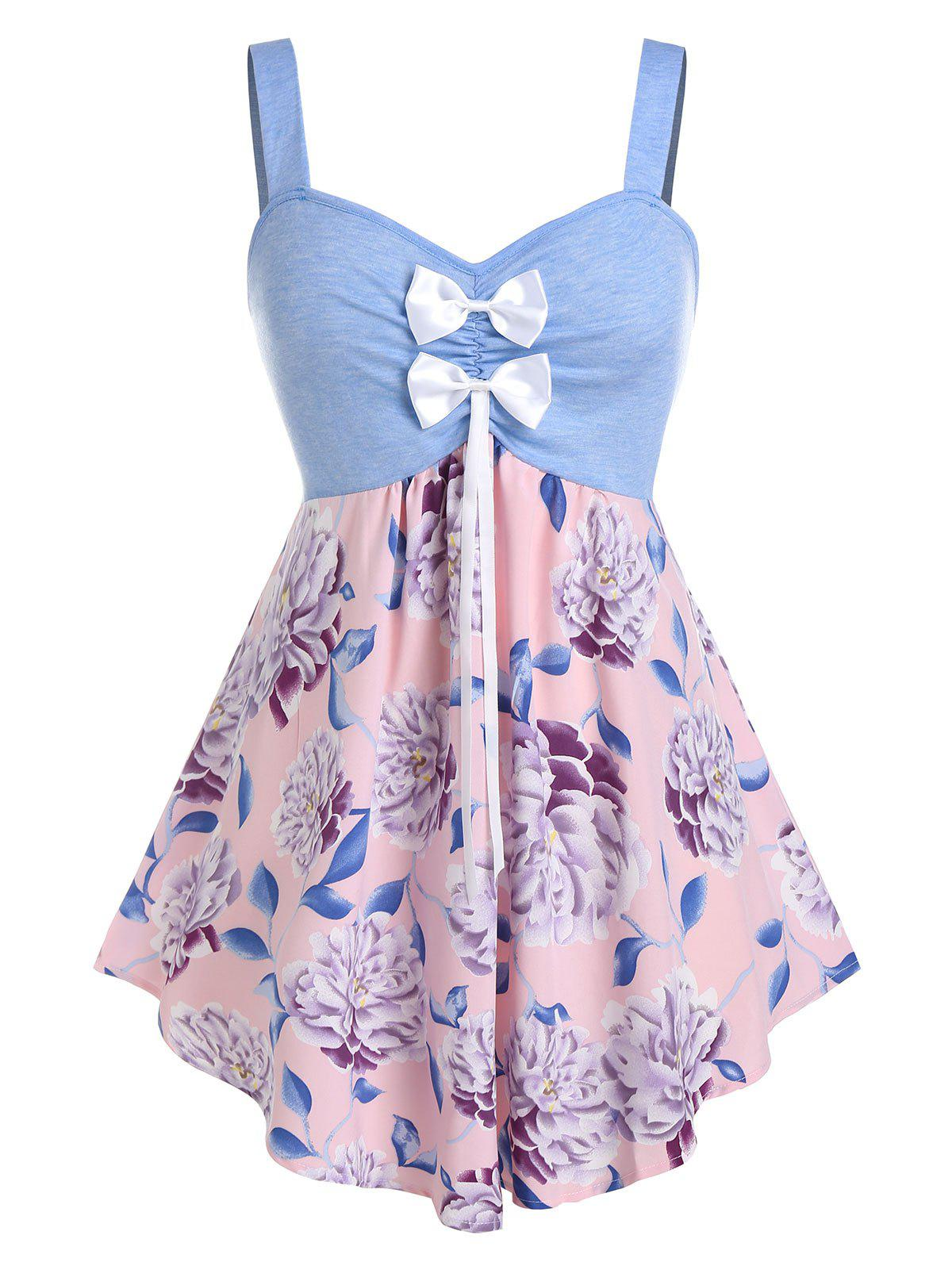 Plus Size Flower Print Bowknot Backless Curved Tank Top фото