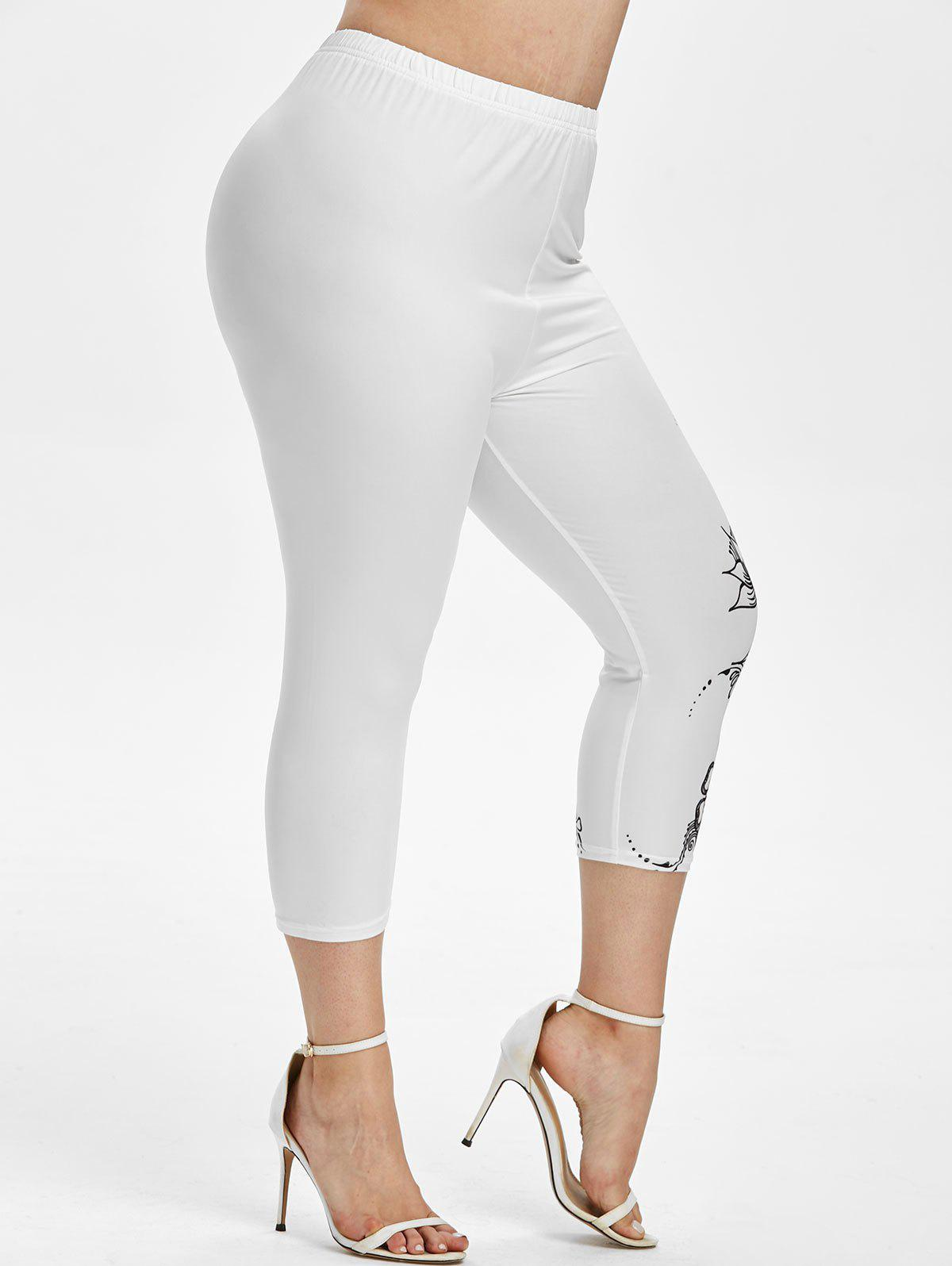 Fashion Plus Size Printed Capri Leggings