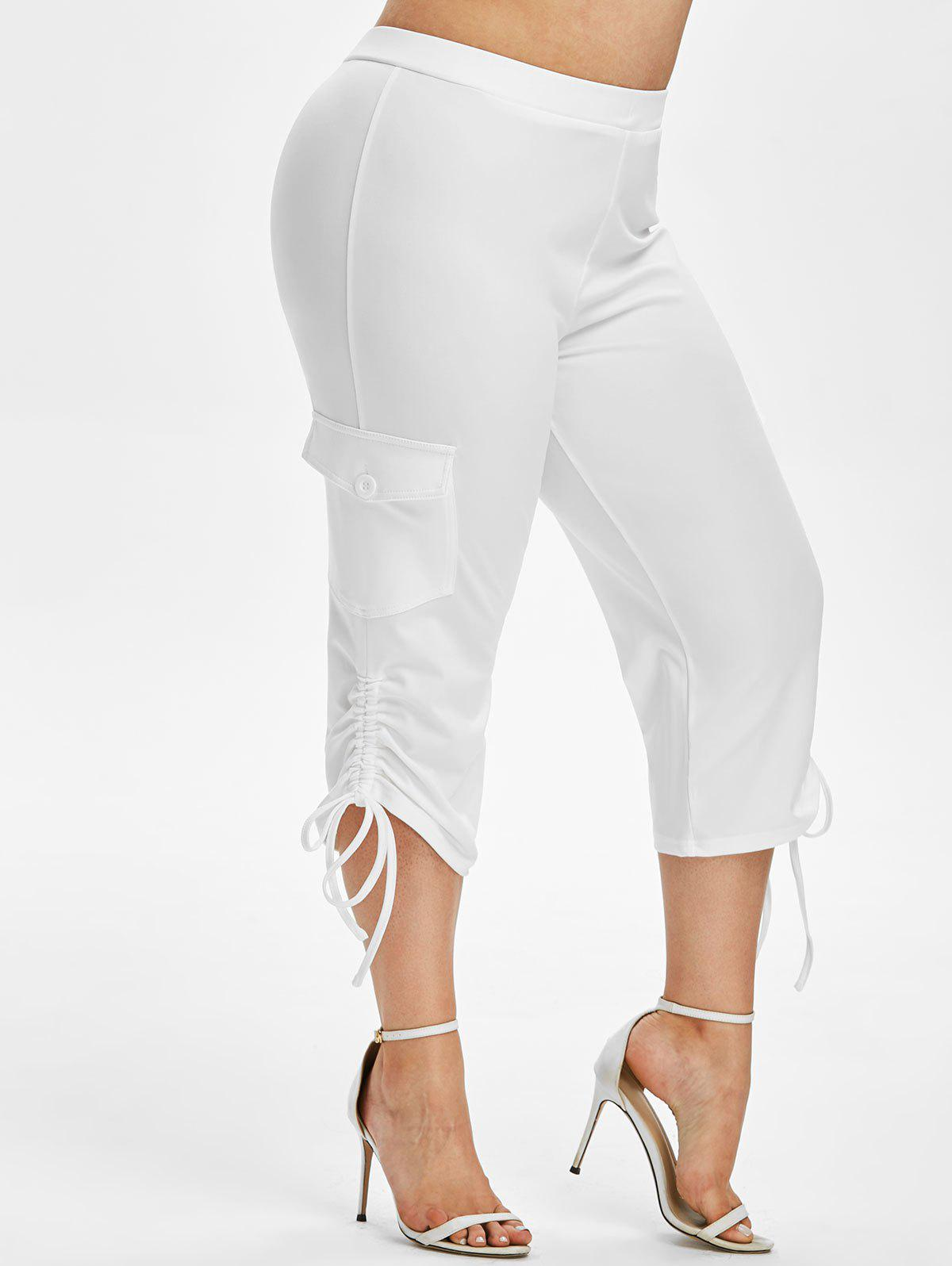 Cheap Plus Size Cinched Side Pockets Capri Pants