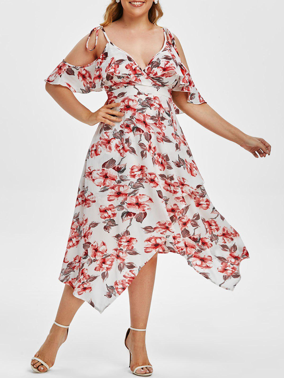 Buy Plus Size Ruffled Cold Shoulder Floral Handkerchief Dress
