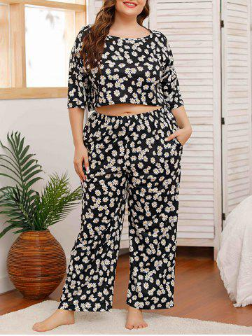 Plus Size Daisy Print Drop Shoulder Pajama Pants Set - BLACK - 3XL