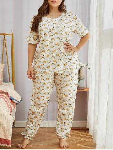 Plus Size Funny Banana Print Short Sleeve Pajamas Set - WHITE - 2XL
