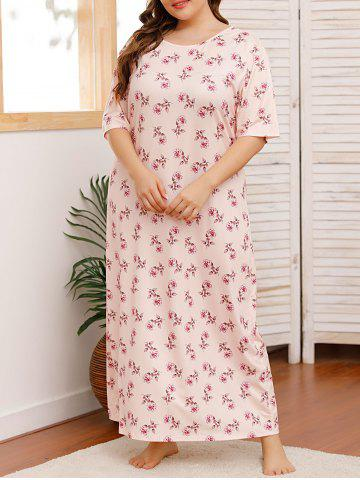 Plus Size Flower Print Maxi Tee Pajamas Dress - LIGHT PINK - 1XL