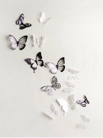 3D Colorful Butterfly Wall Decorative Stickers Set - MULTI-A - 18PCS