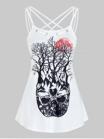 Tree Graphic Strappy Cami Tank Top