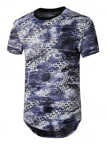 Tie Dye Sheer Patch agujero palangre camiseta - DARK GRAY - S