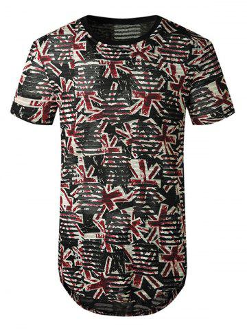 Printed Sheer Patch Hole Short Sleeve Longline T Shirt - RED - 2XL