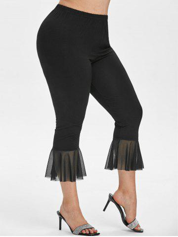 High Waisted Mesh Panel Plus Size Flare Pants