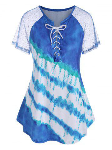 Plus Size Lace Up Tie Dye T Shirt - LIGHT BLUE - 2X