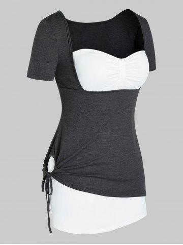 Plus Size Strapless Top and Marled Cinched Tee Set - CARBON GRAY - 5X