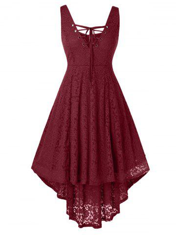 Plus Size Lace High Low Sleeveless Dress - RED WINE - L