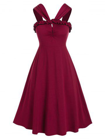 Plus Size Frilled Backless Ruched A Line Retro Dress - RED WINE - L