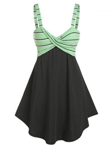 Striped Front Knot Fit And Flare Dress - BLACK - 3XL