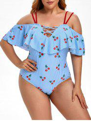 Plus Size Cherry Print Ruffled Stripe One-piece Swimsuit -
