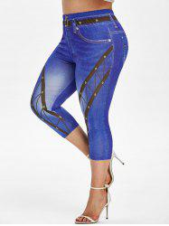 Plus Size Belt 3D Pattern High Waisted Capri Jeggings -