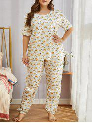 Plus Size Funny Banana Print Short Sleeve Pajamas Set -