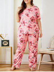 Plus Size Flower Pattern Short Sleeve PJ Set -