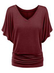 Plus Size Ruched Batwing Sleeve Top -
