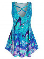 Plus Size Butterfly Pattern Cross Tank Top -