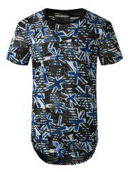 Printed Sheer Patch Hole Short Sleeve Longline T Shirt -