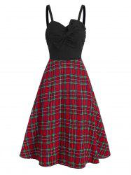 Bowknot Plaid Ruched Vintage Midi Dress -