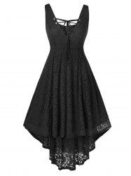 Plus Size Lace High Low Sleeveless Dress -