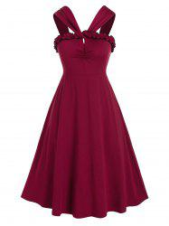 Plus Size Frilled Backless Ruched A Line Retro Dress -