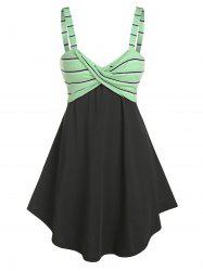 Striped Front Knot Fit And Flare Dress -