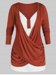 Plus Size Crossover Two Tone Ruched Draped Tunic Tee -
