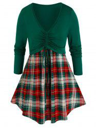 Plus Size Plaid Cinched Tie Plunge Curved Tunic Tee -