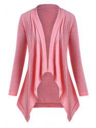 Heathered Open Front Waterfall Plus Size Cardigan -