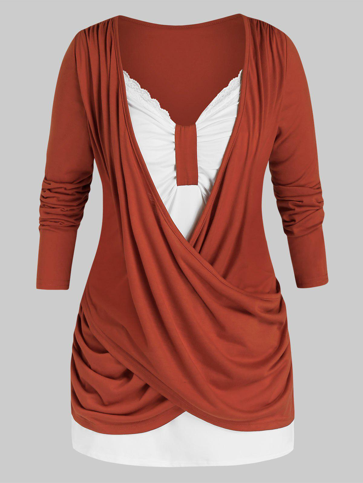 Shop Plus Size Crossover Two Tone Ruched Draped Tunic Tee