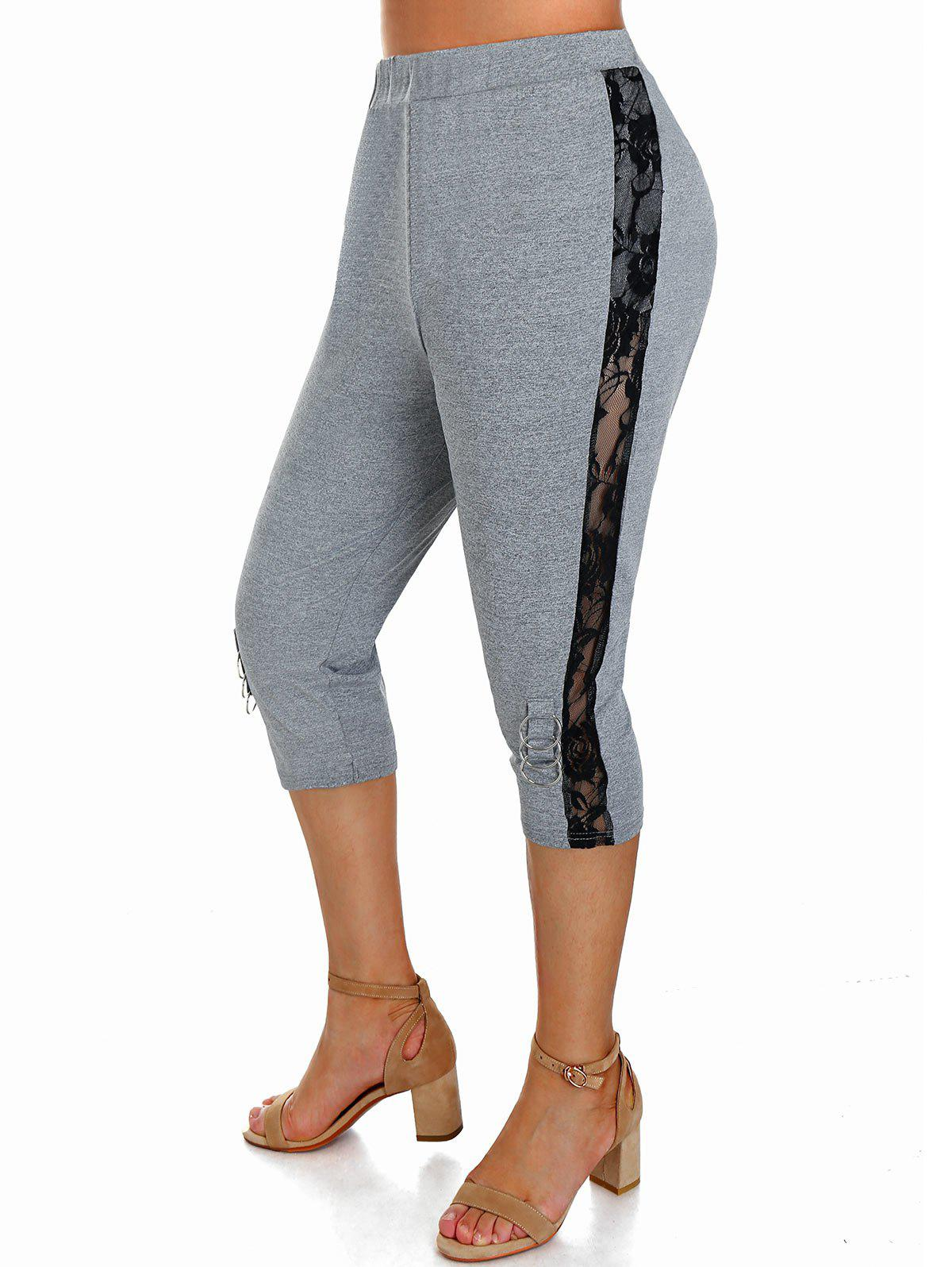 Discount Plus Size O Ring Floral Lace Insert Fitted Leggings